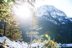 The sun in the Mountains. The magic light of sun in the mountains in Montenegro royalty free stock image