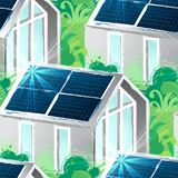 The sun moves across the sky and illuminates the solar panels on the roof of the house. Solar panels placed on the roof of the modern house surrounded bu lush stock illustration