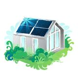 The sun moves across the sky and illuminates the solar panels on the roof of the house. Solar panels placed on the roof of the modern house surrounded by lush vector illustration