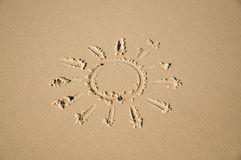 Sun na areia Fotografia de Stock