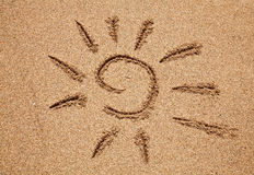Sun na areia Imagem de Stock