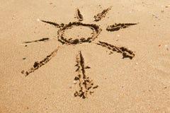Sun na areia Foto de Stock Royalty Free