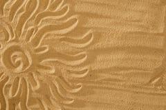 Sun na areia no conceito do fundo do feriado da praia Fotos de Stock