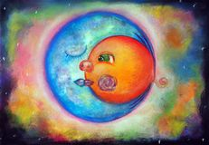 Sun na perspectiva da lua Imagens de Stock Royalty Free