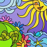 Sun and nature. Abstract illustration with sun and nature Royalty Free Stock Photo