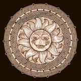Sun nel telaio con un meandro royalty illustrazione gratis