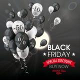 Sun nero Black Friday del mazzo dei palloni di sconto del cielo Fotografia Stock Libera da Diritti