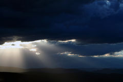 Nightfall Sky. Sunlight through dramatic clouds at twilight or dusk stock images