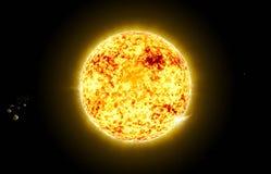 Sun no espaço com asteróide Fotografia de Stock