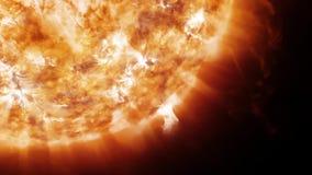 Sun no espaço com proeminências e vento solar video estoque
