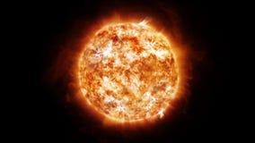 Sun no espaço com proeminências e vento solar filme