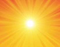 Sun no fundo amarelo Imagens de Stock Royalty Free