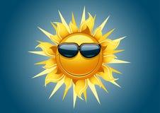 Sun no fundo azul Ilustração do Vetor