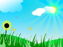 Sun, nuages et butterflyes Photographie stock