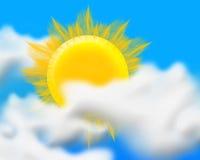 Sun, nuages font. Image libre de droits