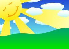 Sun, nuvens e montes verdes Fotos de Stock