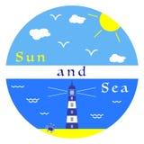 Sun, nuvens, mar, praia, farol, caranguejo ilustração do vetor
