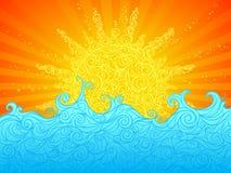 Sun och hav Arkivfoto