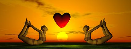 Sun och hjärta och yoga Royaltyfria Bilder