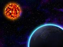 Sun och jord Vektor Illustrationer