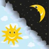 Sun och moon vektor illustrationer