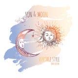 Sun och moon Arkivbilder