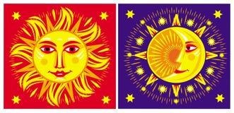 Sun och moon. Arkivbild
