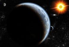 Sun och planet Arkivfoton