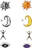 Sun, oeil, figure, lune Images libres de droits