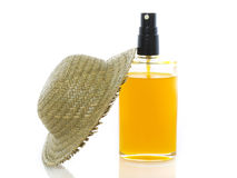 Sun oil with hat Stock Image