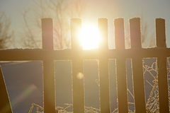Sun, old wooden fence Royalty Free Stock Image