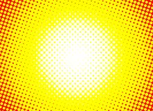 Sun orange halftone circles horizontal background. Sunny yellow frame using halftone dots texture. Vector illustration vector illustration