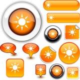 Sun-Orangenzeichen. Lizenzfreies Stockbild