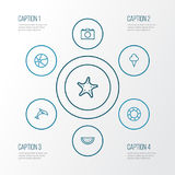 Sun Outline Icons Set. Collection Of Sea Star, Lifesaver, Animal And Other Elements. Also Includes Symbols Such As Royalty Free Stock Photo