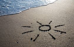 Sun outline on the wet sand Stock Photography