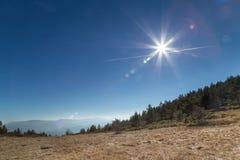 Sun over beautiful mountain panorama Royalty Free Stock Images