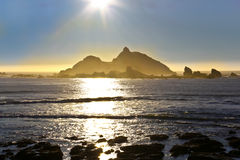 Sun Over Castle Rock, Crescent City, California Royalty Free Stock Images