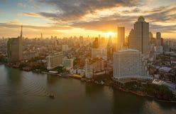 The Sun over Chao Phraya River, Bangkok, Thailand Royalty Free Stock Photos