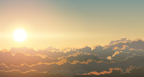 Sun over clouds illustration Stock Photography