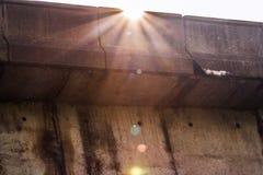 Sun Over a Dam`s edge stock photography