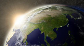 Sun over East Asia Stock Photo