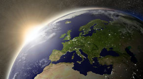 Sun over Europe Stock Photo
