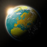 Sun over Europe on planet Earth Royalty Free Stock Photo