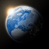 Sun over Europe on planet Earth Royalty Free Stock Photos