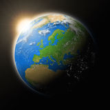 Sun over Europe on planet Earth Stock Image