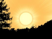 Sun over forest. Computer illustration of sunrise above moravian forest Stock Photos