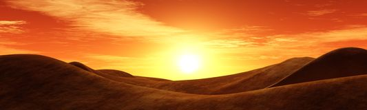 Sun over the hills, the sunset in the desert Royalty Free Stock Images