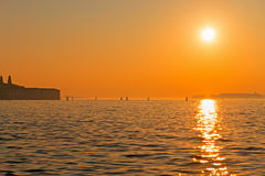 Sun over the lagoon Royalty Free Stock Photography