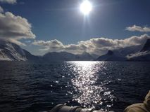 Sun over the Lake in Greenland Royalty Free Stock Images