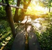 Sun over little bridge Royalty Free Stock Photo
